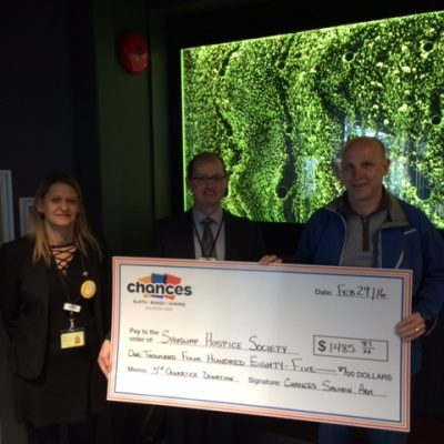 Chances makes a donation to Hospice